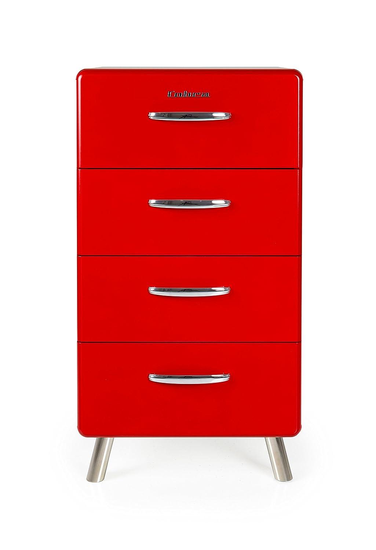 Tenzo 4904-028 COBRA Designer Chiffonnier avec 4 Tiroirs Panneaux de particules-MDF Rouge 50 x 43 x 92 cm