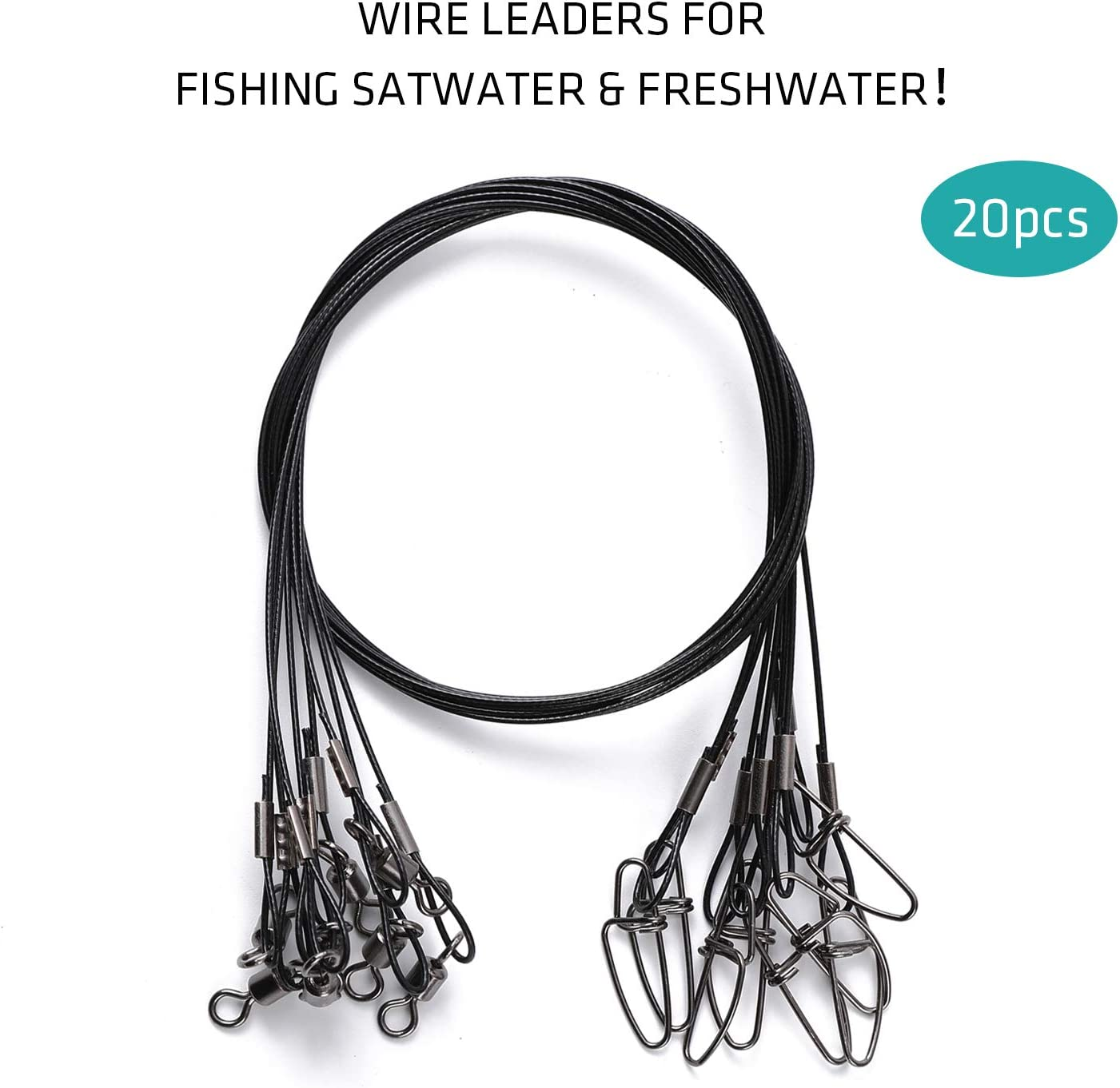 20 Pcs LPATTERN Fishing Wire Leaders Fishing Leaders Line with Swivels Kits Snap Connector Tooth Proof Stainless Steel