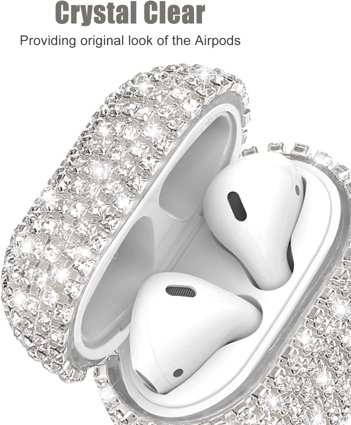 Silver Bling Diamond Airpods Case Cover Glitter Cute Airpod Accessories Compatiable with Apple Airpods 1 2 JIELIELE Airpods Cases