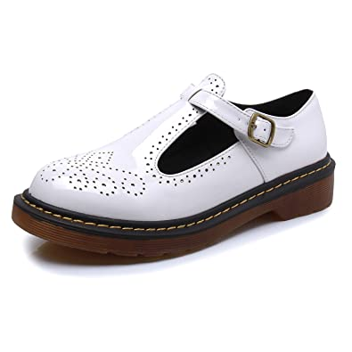 37c730e7f39c Smilun Chaussure Fille Brogues Lacets Autobloquants en Vogue Comfortable  Blanc EU36