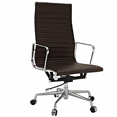 amazon com emod eames ribbed high back office chair leather brown