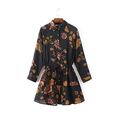 Manggo Fashion roupas de marca fashion dress estilo europeu manga comprida dress impressão floral magro vestidos
