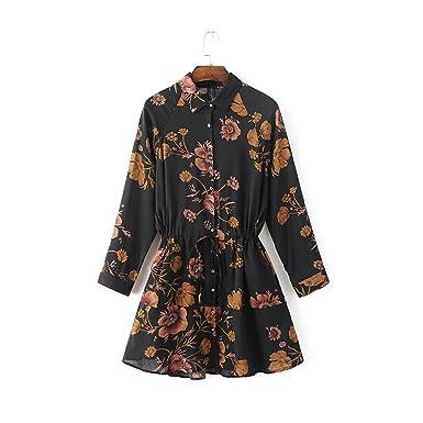 Manggo Fashion roupas de marca fashion dress estilo europeu manga comprida dress impressão floral magro vestidos