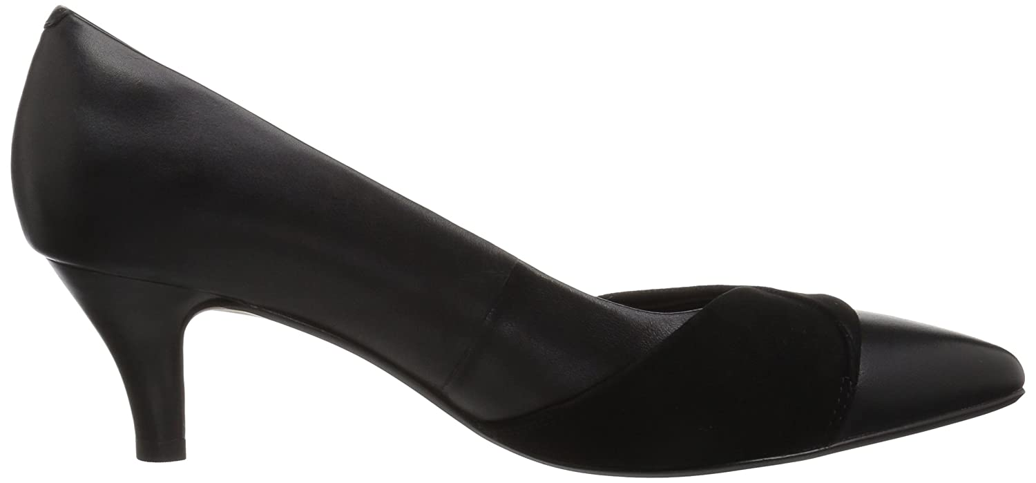 CLARKS Women's Linvale Vena Pump B077Z4YV3L 065 W US|Black Leather/Nubuck Combi