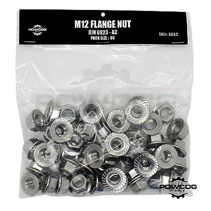 Stainless Steel Metric M12 Serrated Flange Nut 2 Pack