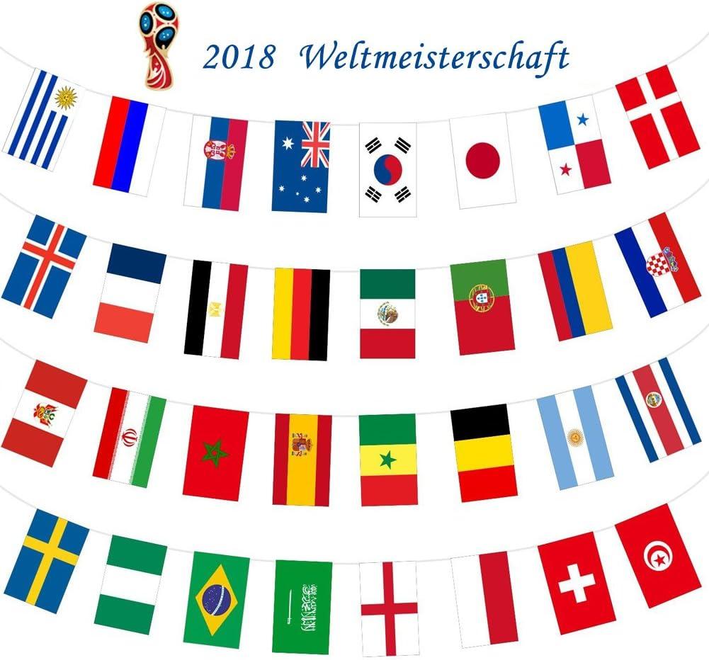 Banderas Internacionales con Cuerdas de Top 32 de Copa Mundial 2018 de FútbolDecoraciones de las Naciones para la Noche de Fútbol, Banners de Jardín, Decoración de Bar, 10 m: Amazon.es: Deportes y
