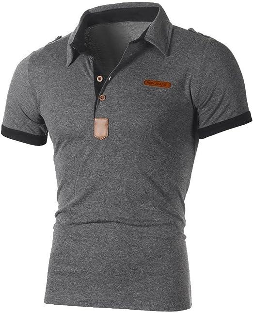 Fashion Mens Casual Short Sleeve Shirts Slim Shirt Tops Tees Blouse T-Shirt Size