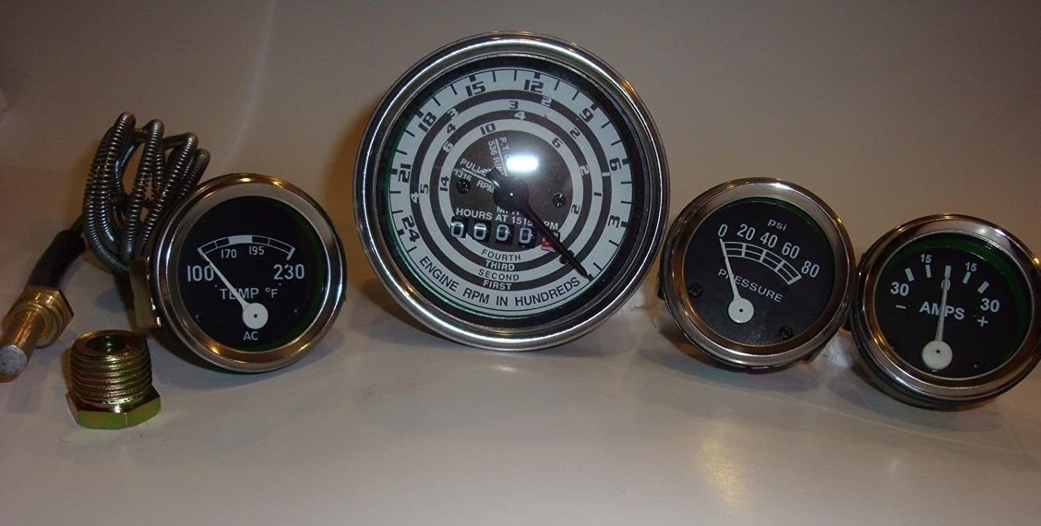 Ford Tractor 8N, 9N , 2N - Tachometer,Temp, Oil , Amp Gauge Chrome bezels International Fuel Injection Exports