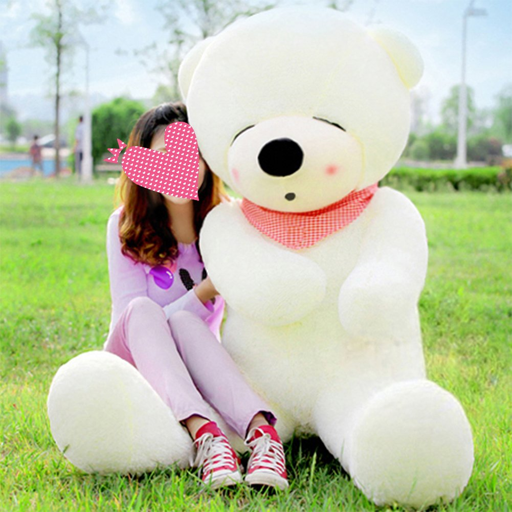 VERCART 63 inch White Color Giant Huge Cuddly Stuffed Animals Plush Teddy Bear Toy Doll by VERCART
