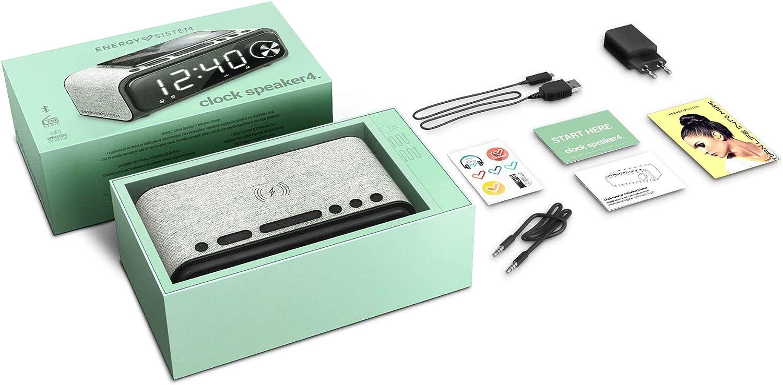 Energy Sistem Clock Speaker 4 (Horloge haut parleur Bluetooth 4 et chargement sans fil avec double alarme, 10 W, radio FM, USB, microSD et MP3)