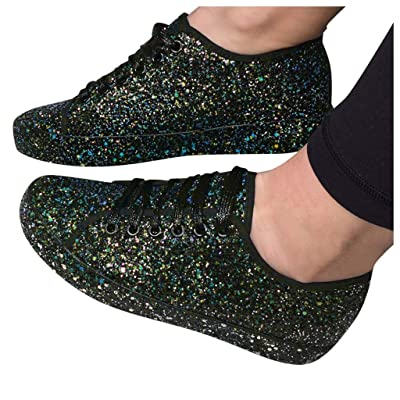 YiYLunneo Shoes for Women Flats Comfortable Casual Bling Glitter Lace Up Sport Shoes Sneakers Soft Slip On Walking Shoe