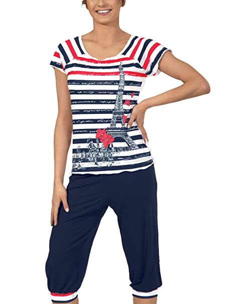 AVA Pijama para Mujer Paris (Azul Marino, S)