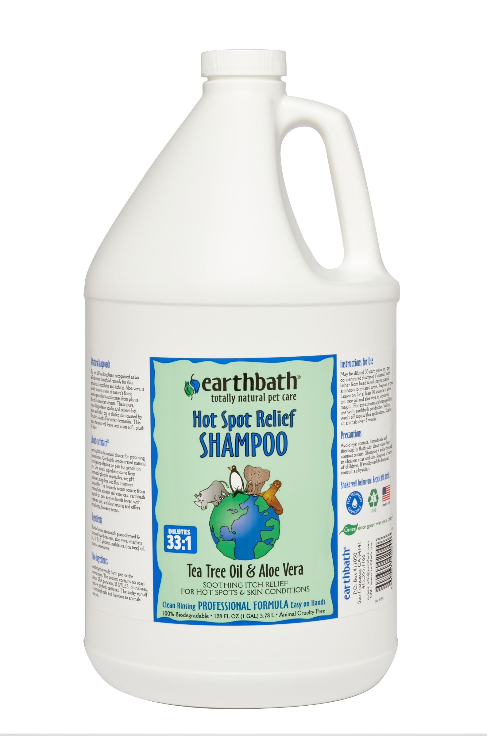 Earthbath Tea Tree and Aloe Concentrated Shampoo, 1-Gallon by Earthbath
