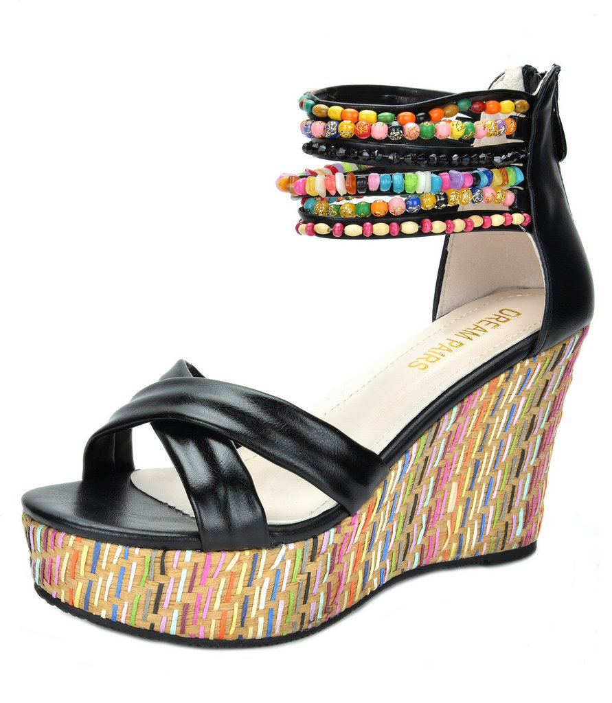 DREAM PAIRS Bling Women's Wedge Sandals Pearls Across The Top Platform High Heels Black Size 9.5