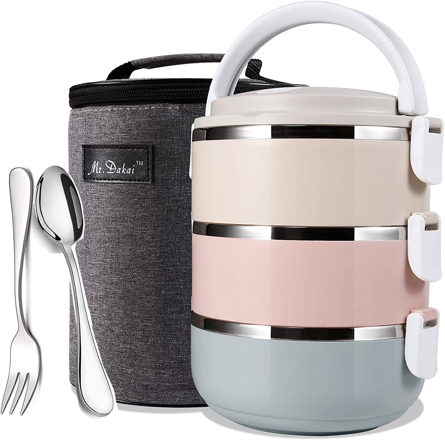 Mr.Dakai Bento Box Adults Lunch Box with Insulated Lunch Bag Spoon Fork, 3-Tier Stainless Steel Stackable Thermal Food Storage Container for Healthy On-the-Go Meal and Snack Packing (Rainbow Round)