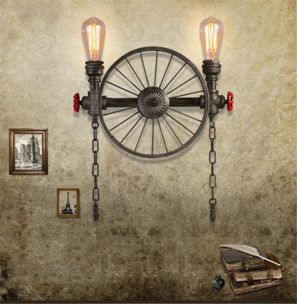 DengWu lampada da parete Vento industriale magazzino personalità creative Retro illuminazione americano Ristorante Bar ferro ruota tubo acqua luce da parete