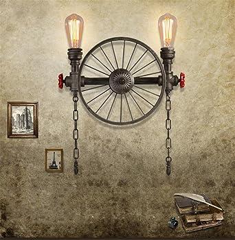 BOOTU lámpara LED y luces de pared Nave industrial bar restaurante Sepia rueda de hierro lámpara