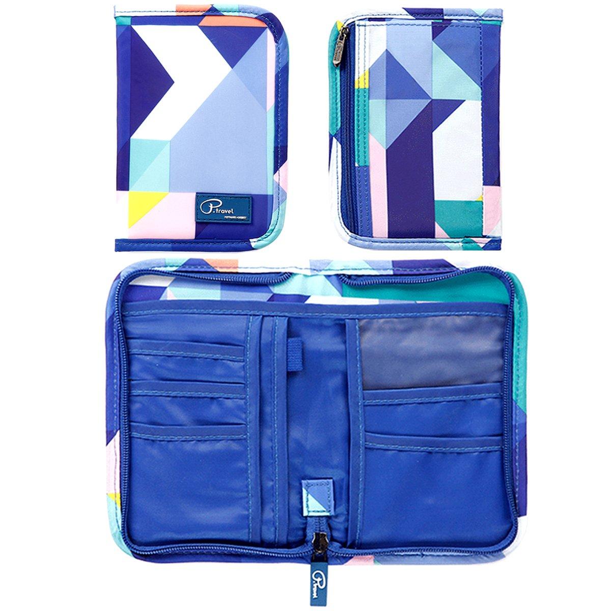 Blue Travel Passport Wallet Holder RFID Blocking for Women Men Family