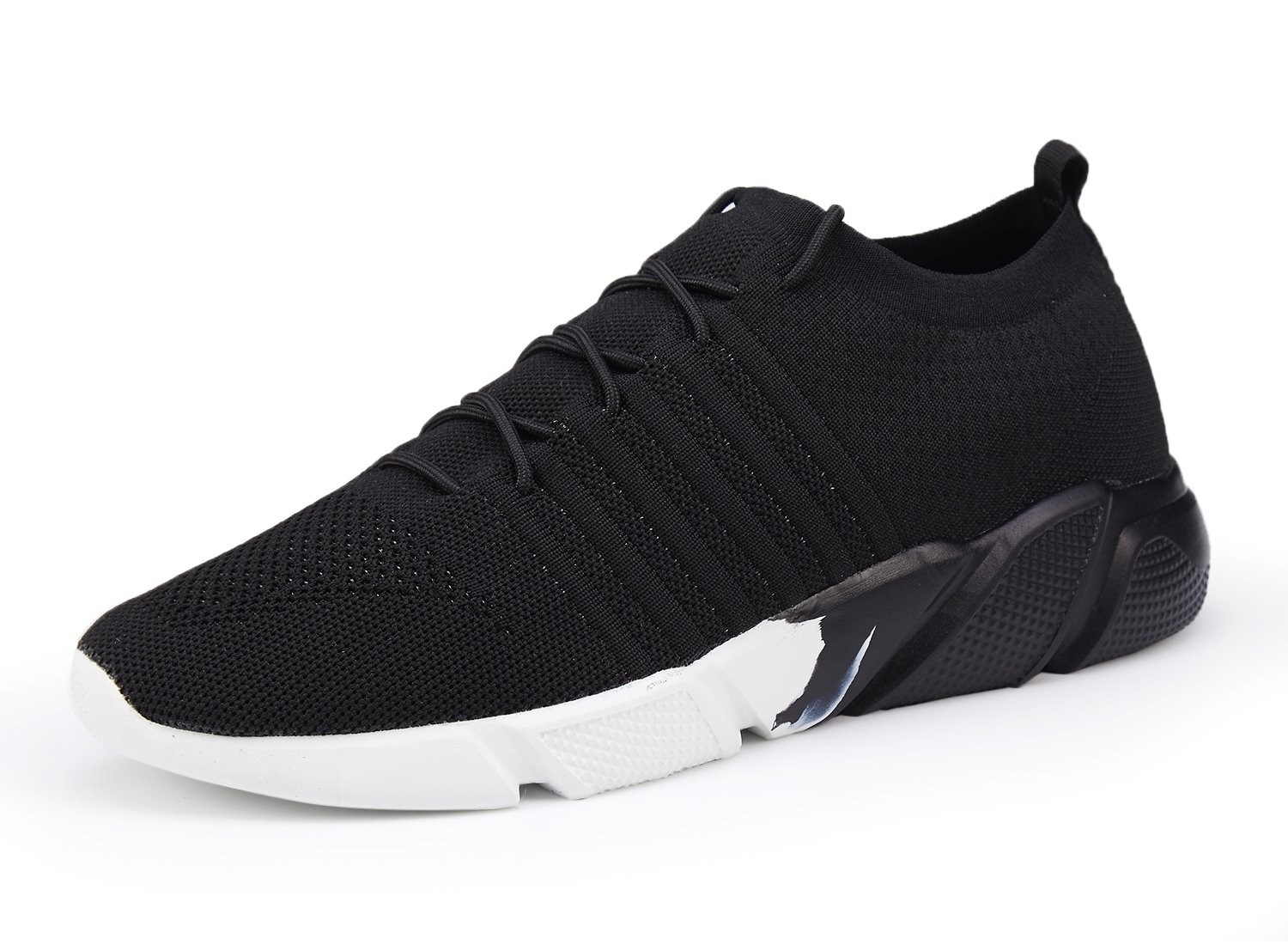 Men's Running Shoes Fashion Breathable Sneakers Mesh Soft Sole Casual Athletic Lightweight Walking Shoes Black White 42