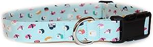 Sushi, Blue Food Designer Cotton Dog Collar, Adjustable Handmade Fabric Collars (L)