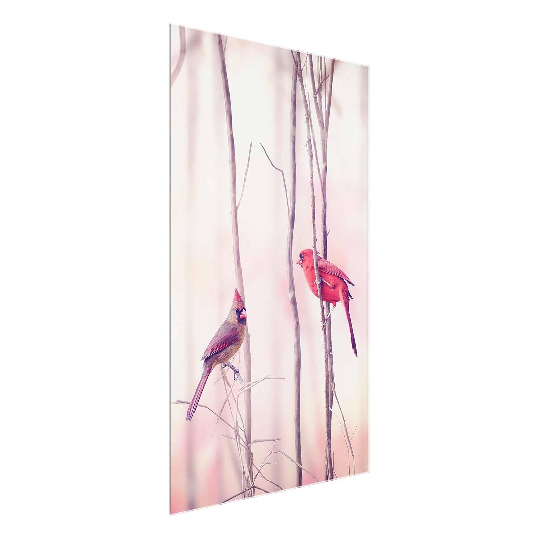 Bilderwelten Glasbild - Vögel auf Zweigen - Hoch 3 2, Größe HxB  60cm x 40cm