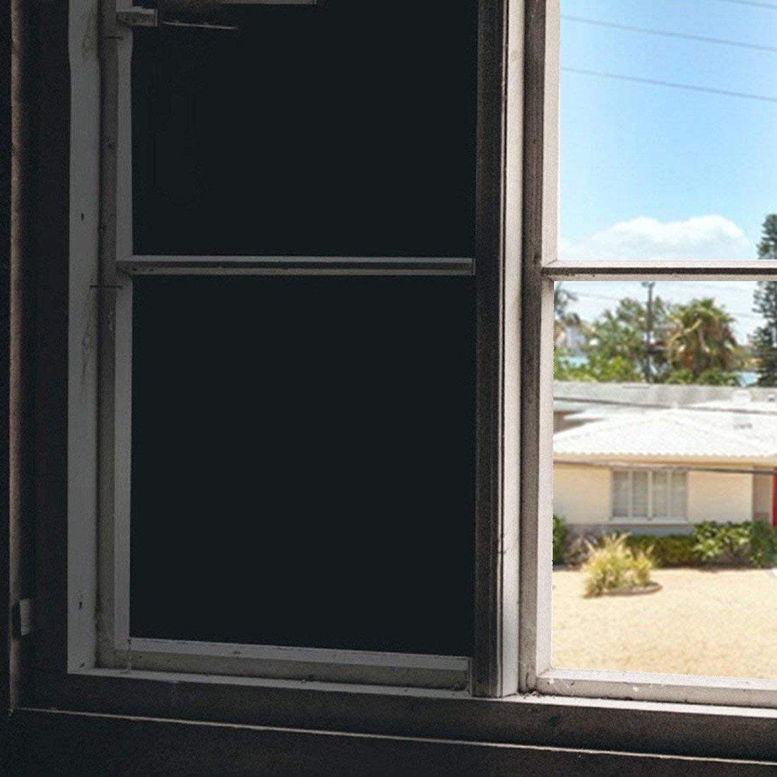 17.7 X 78.7 Inch, Black UV Control Room Darkening Window Treatment for Kids Room//Day Sleeper Soqool Sun Blocking Window Covering Film 100/% Light Blocking Window Blackout Film Privacy Window Film