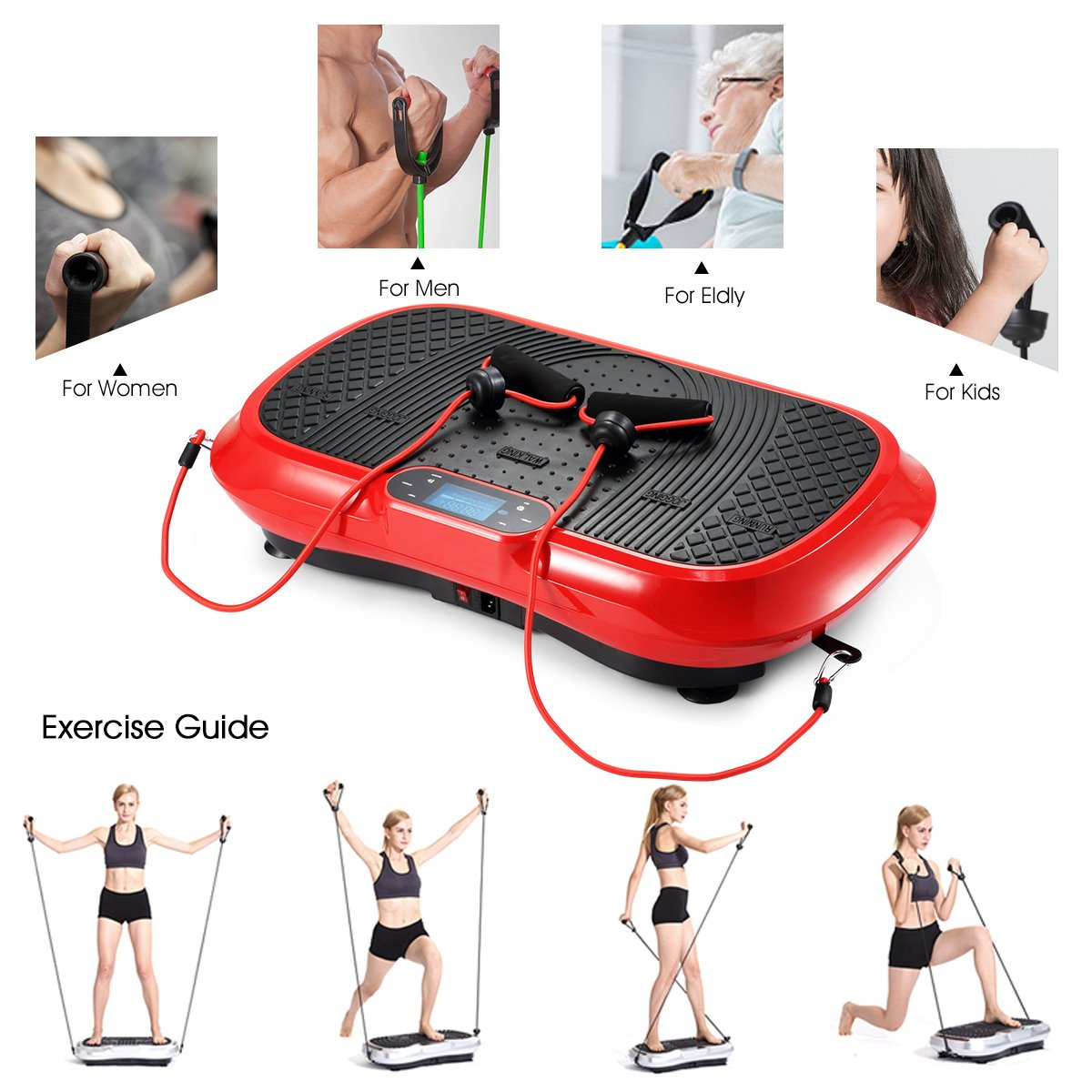 GENKI YD-1010B-R Ultra Slim Vibration Machine Plate Platform Whole Body Shaper Trainer Exercise Red by GENKI (Image #5)