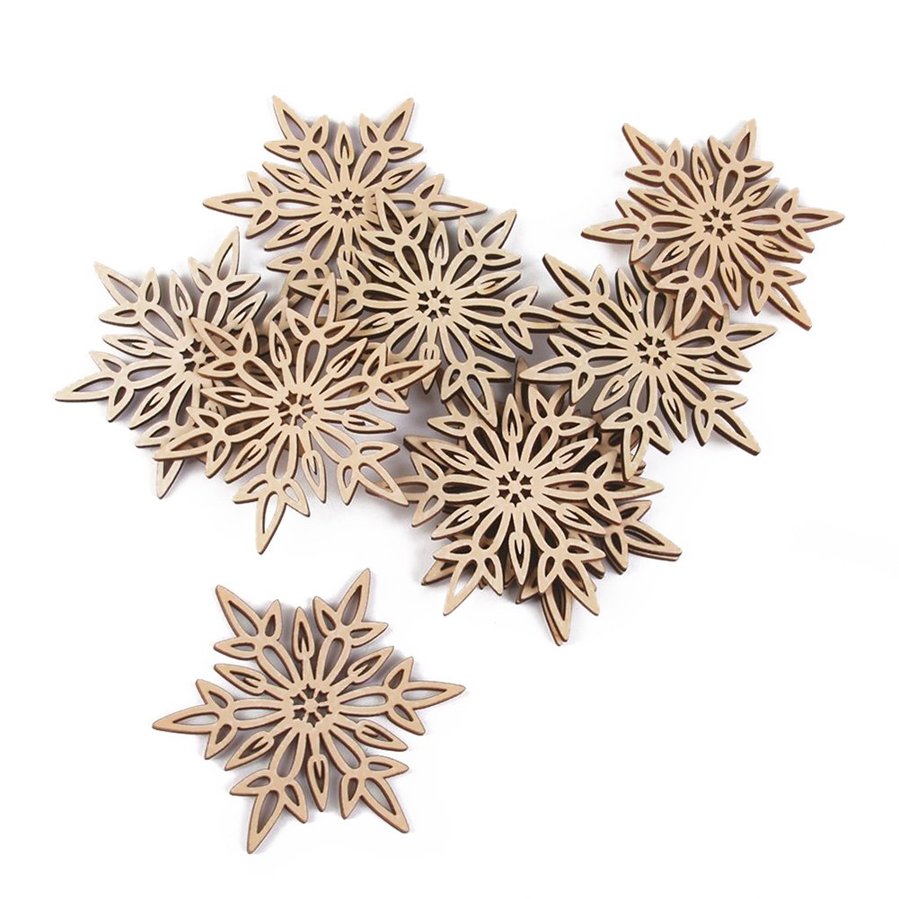 Cdet 10Pcs Hollow Wooden Embellishments Crafts Christmas Tree Hanging Ornament