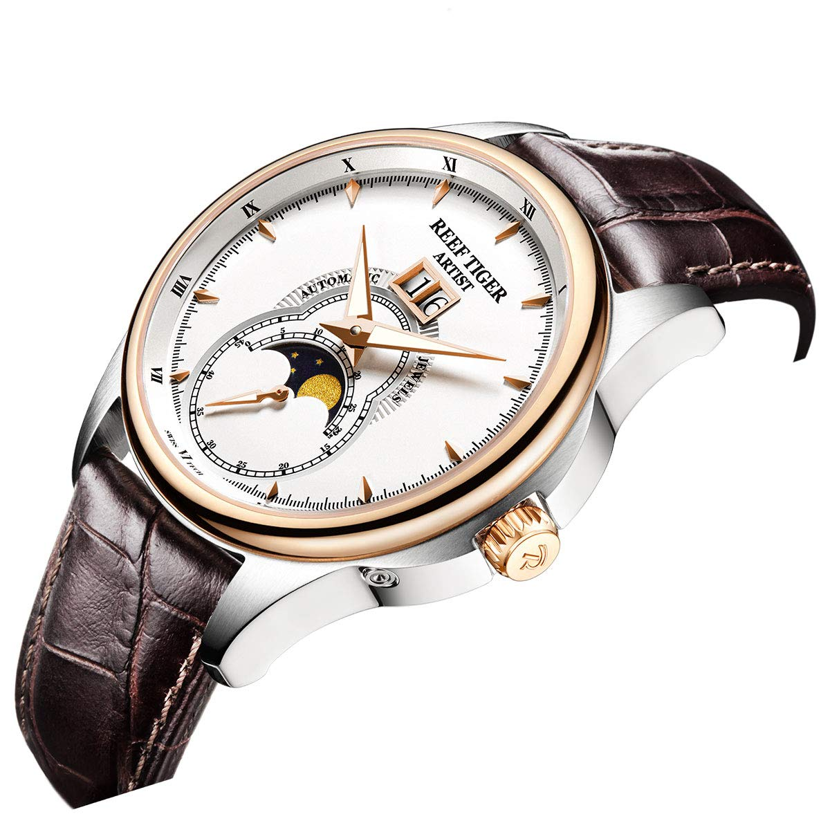 Reef Tiger mode klockor månfas stål rosa guld läderrem automatisk RGA1928 Rga1928-pwb