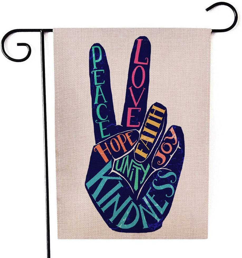 Mrcrypos Peace Love Hope Joy Kindness Hand Small Garden Flag Vertical Double Sided 12.5X18 Inch Burlap Yard Outdoor Decoration