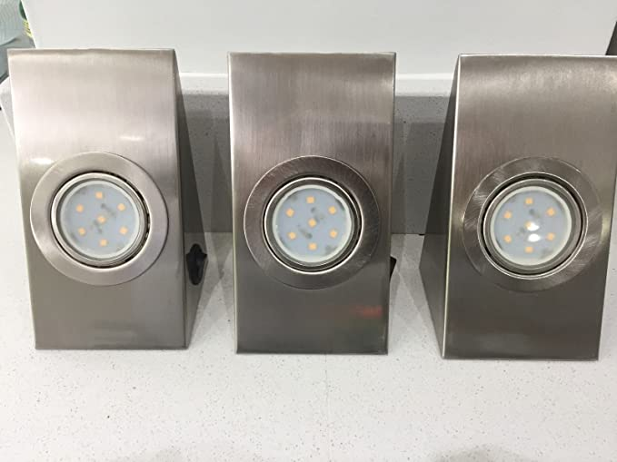 3 x led kitchen under cabinet cupboard lights brushed chrome wedge rh amazon co uk IKEA Kitchen Tesco Kitchens