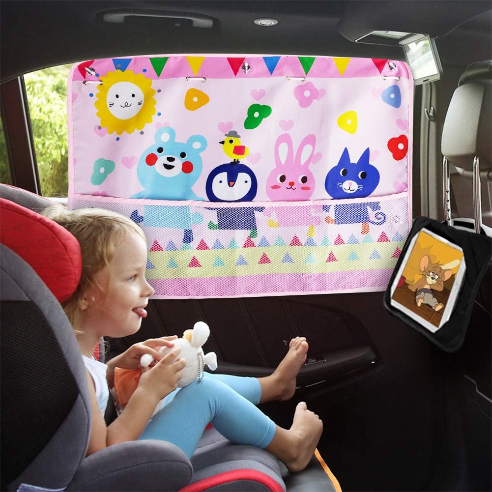 aokway Car Window Shades for Baby, Car Sun Shade Universal Fit-Protect Your Baby Kids from UV Rays-Strong Suction Cup(Backseat, Friends)