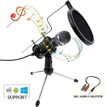 Micrófono de Condensador, Zexuan Portatil Micrófono de Condensador con 3.5mm Plug & Play Home