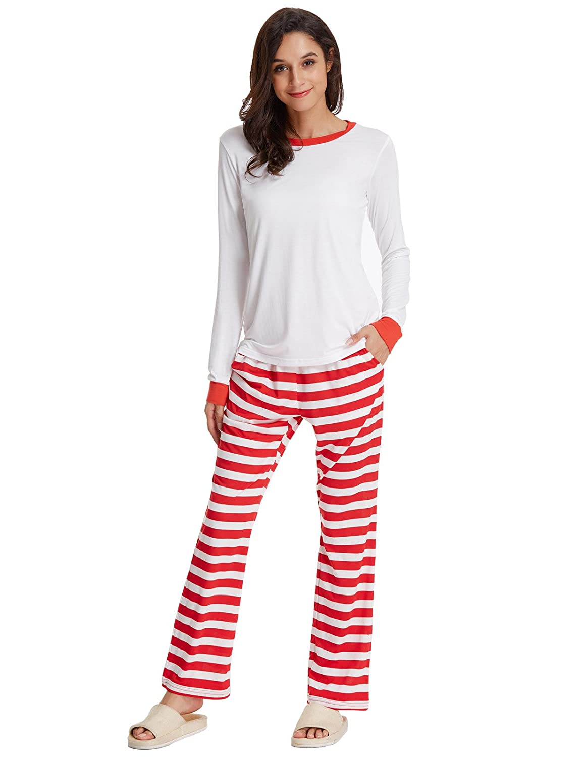 Zexxxy Women Christmas Pajama Long Sleeve Red and White Stripe Sleepwear at  Amazon Women s Clothing store  f8b444b5f