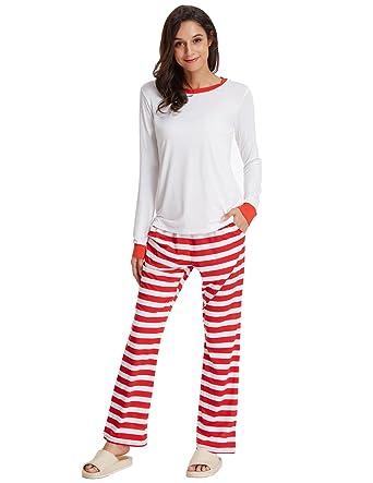 Zexxxy Pajamas for Women Cotton Striped Loungewear Christmas Sleepwear White  Size XL a797f3972