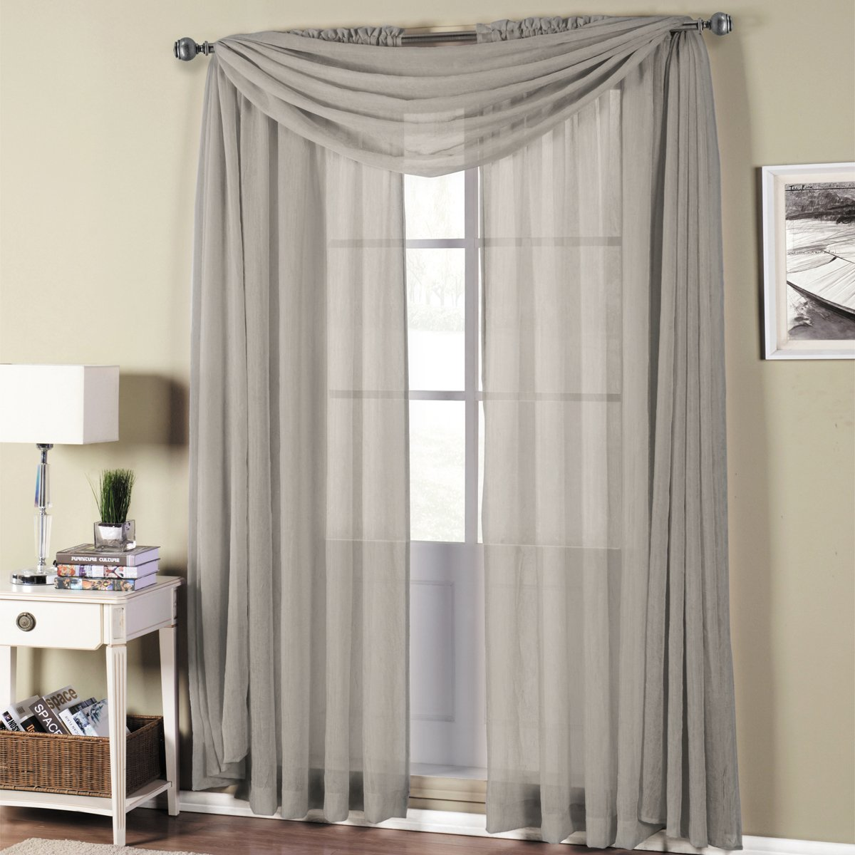 Abri Gray Silver Rod Pocket Crushed Sheer Curtain Panel Crisya In Mocca 37 Panel50x84 Inches By Royal Hotel Home Kitchen