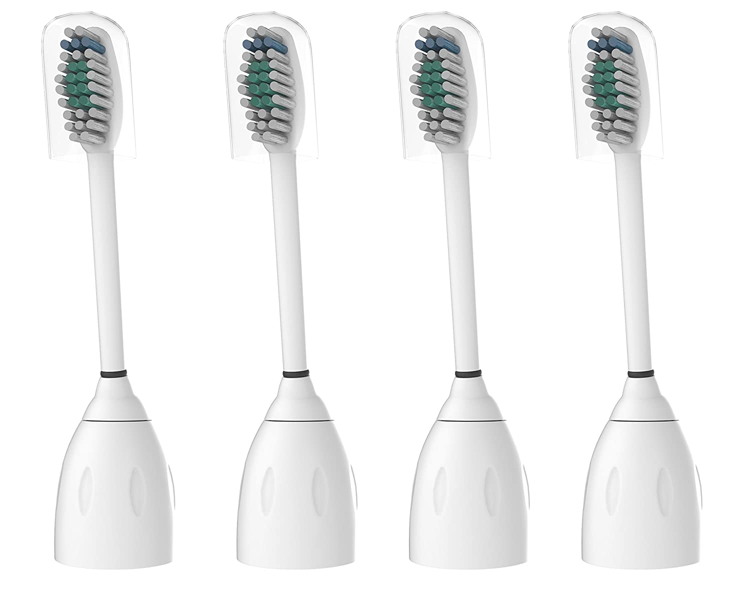 Oliver James Replacement Toothbrush Heads for Philips Sonicare E-Series HX7001 HX7002 HX7022 fits Essence, Xtreme, Elite, Advance and CleanCare - 4 pack with caps