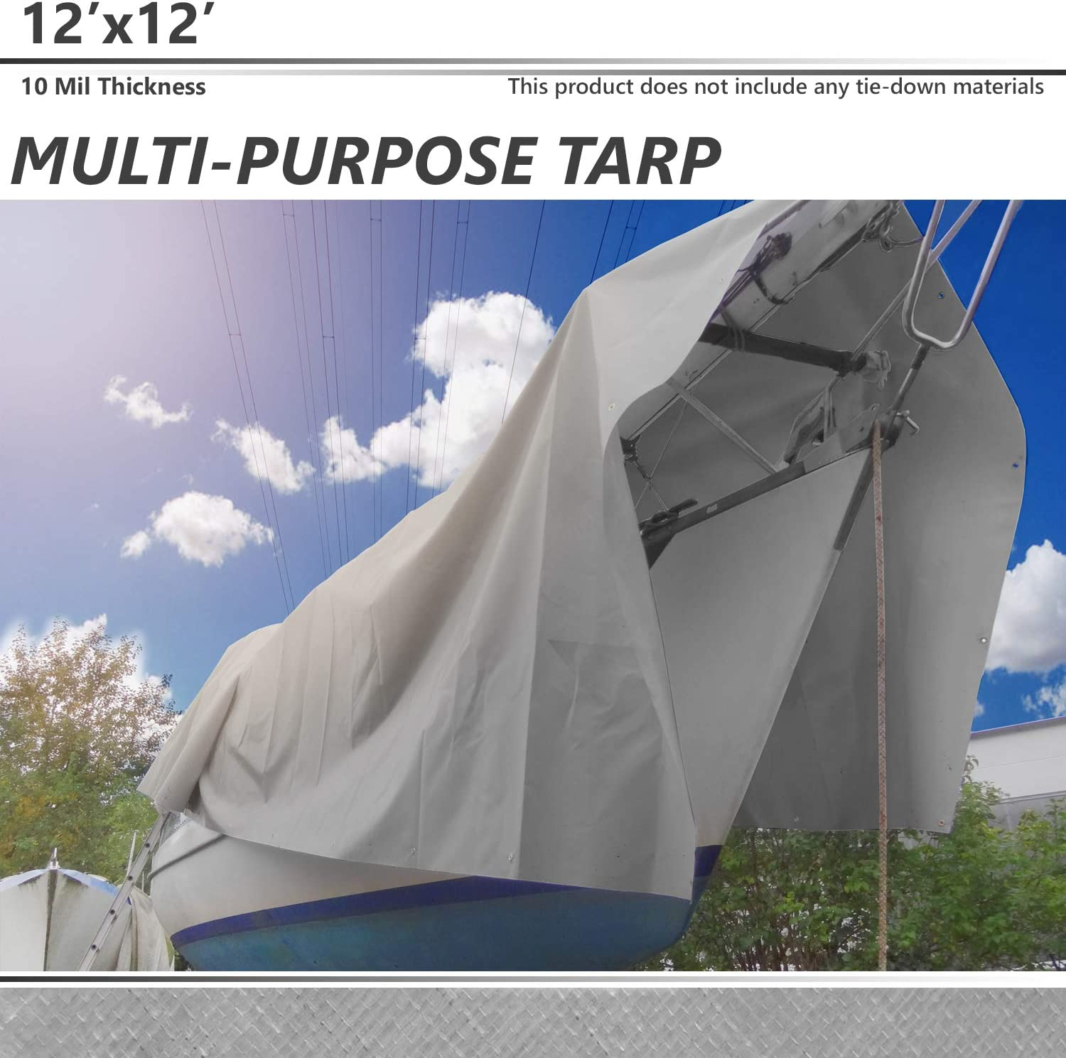 for Tarpaulin Canopy Tent White BOUYA 12 x 16 Tarp 10-mil Heavy Duty Thick Material UV Resistant Multi-Purpose Waterproof Reinforced Rip-Stop with Grommets Boat RV or Pool Cover