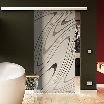 Levidor/® EasySlide-System komplett Laufschiene und Muschelgriffen f/ür Innenbereich/ ESG-Sicherheitsglas Made in Germany SoftClose Schiebet/ür aus Glas 775x2050 mm/ Horizont-Design H