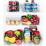 Set of 6 - Jinamart Large Stackable Storage Organizer Bins for Refrigerator with Handle  BPA Free Clear Plastic Fridge…