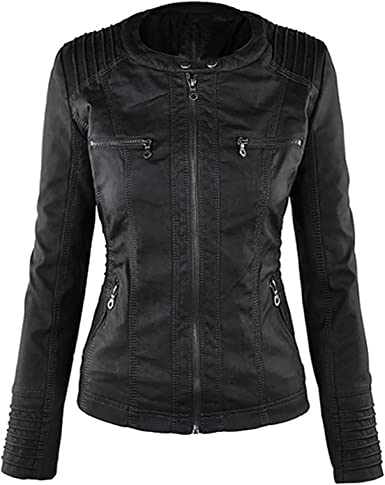 Seamido Women Hooded Faux Leather Coat with Removeable Hoodie Motorcycle Jacket