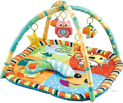 MiniDream Baby Gym Playmat Activity Mat Tummy Time Floor Mat Moon and Star