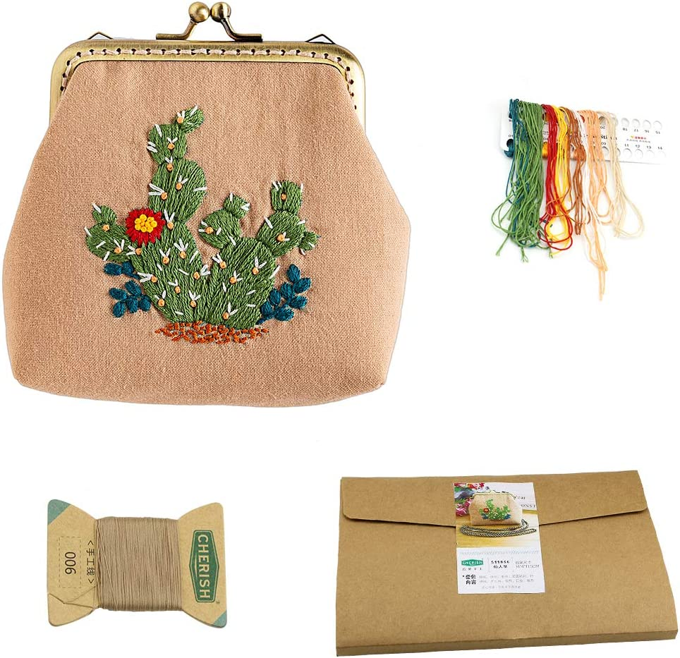 Chinese Traditional Retro Style Embroidery Purse Making Kits Handmade DIY Kiss Lock Coin Purse Making Supplies (Cactus)