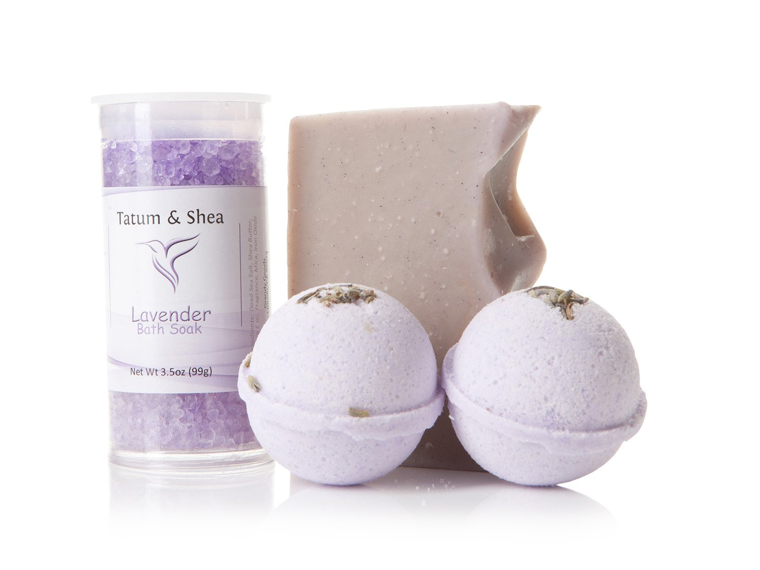 Bath/Spa Gift Set | Natural Handmade Lavender Soap Bar, Lavender Scented Dead Sea Bath Salts, 2 Lavender Fizzy Bath Bombs | Gift Boxed | Made in the USA by Tatum & Shea (Lavender)