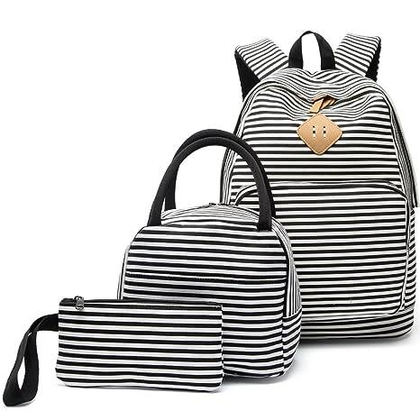 79d61a6e8e BLUBOON, Zainetto per bambini Nero Black White Stripe-3pcs L: Amazon ...