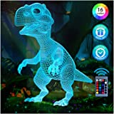 Dinosaur Toys Night Light for Kids, Dinosaur Gifts 3D Night Lights for Boys, T Rex Lamp Decor for Christmas Birthday…
