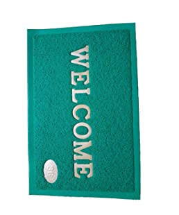 Ace International Exports Soft PVC Plastic Anti Slip Welcome Door Dust Remover Mat (38x58 cm, Green)