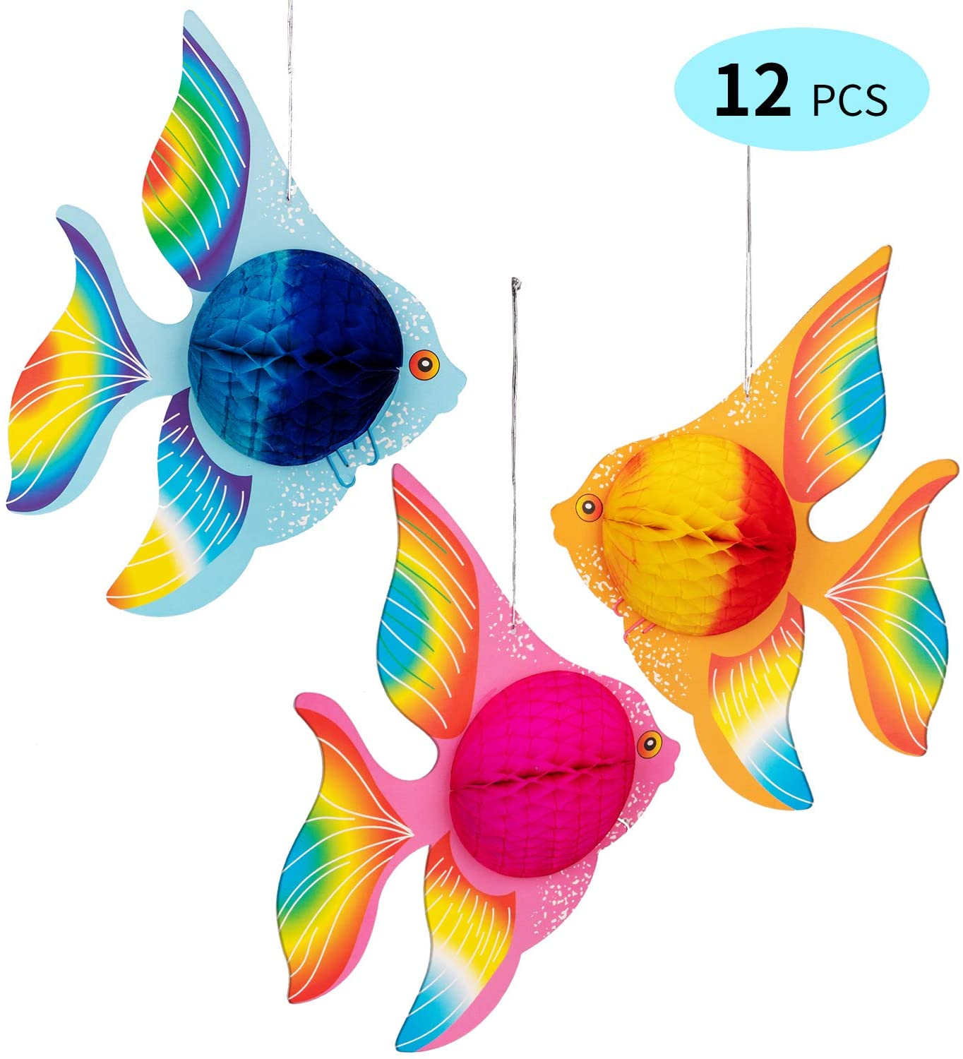 90shine 12PCS Tropical Fish Party Decorations Supplies- Under-The-sea/Mermaid/Luau/Hawaiian/Kids Birthday