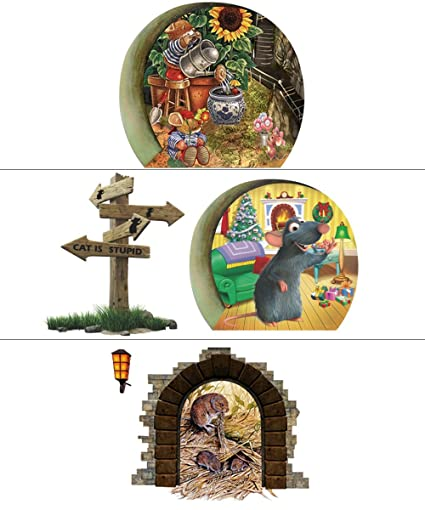 adam victor 6 sheets removable creative merry christmas mouse stickers wall decals kids room corner decorations - Christmas Mouse Decorations