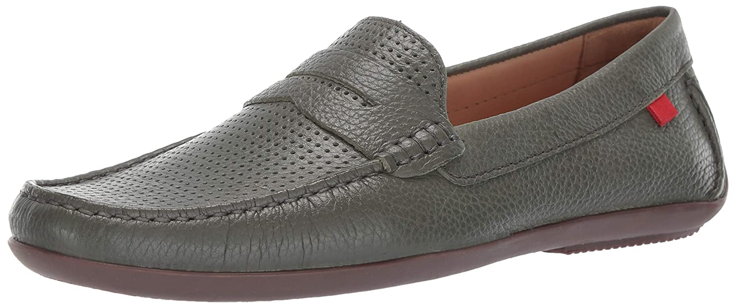 Olive Grainy Perforated MARC JOSEPH NEW YORK Mens Mens Genuine Leather Union Street Driver Loafer